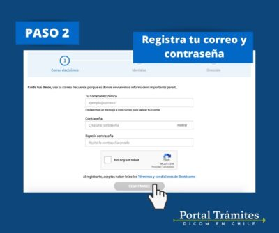 Registrarte como usuario en Destacame.cl
